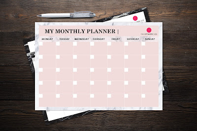 planificador mensual descargable gratuito marmol
