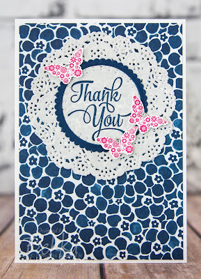 Make in a Moment Thank You Cards in Blue and White With A Pop Of Bright.  Made with Stampin' Up! UK Supplies which you can get here