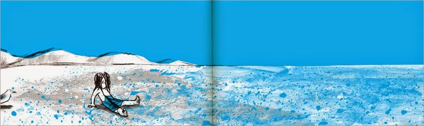 Ilustración interior del cuento La Ola ilustrado por Suzy Lee