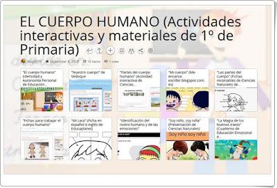 """""""10 Actividades interactivas y materiales para el estudio de EL CUERPO HUMANO en 1º de Primaria"""""""