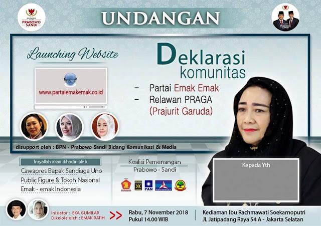 Partai Emak-Emak dan Relawan Praga Bakal Deklarasi Dukung Prabowo-Sandi