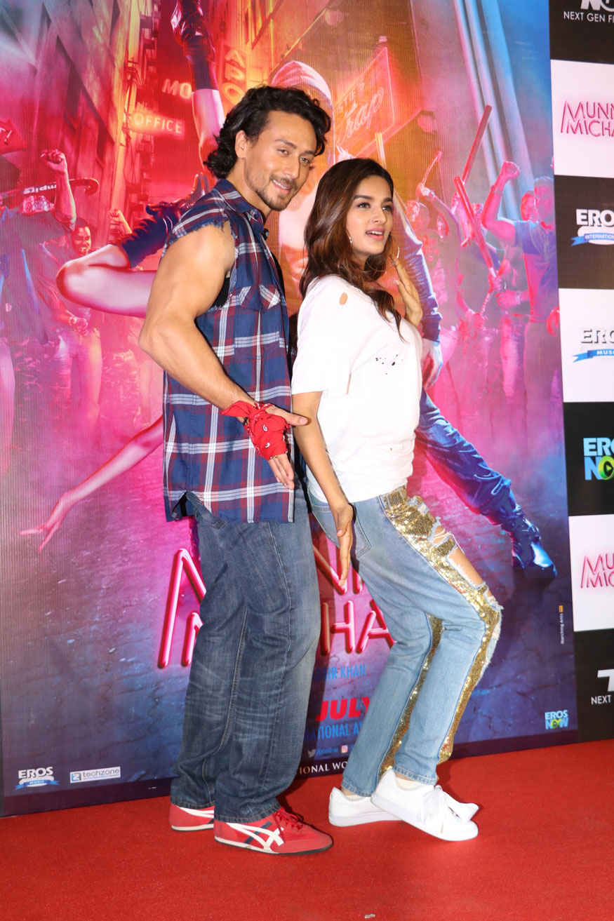 Tiger Shroff and Nidhhi Agerwal at Promotional Event of Munna Michael at Chandan Cinema
