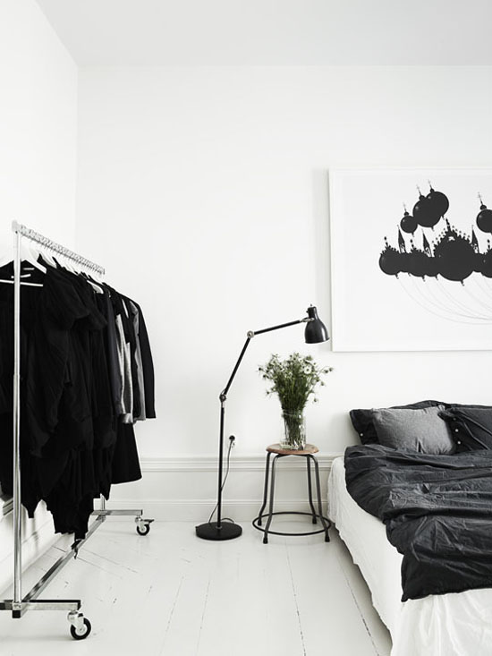 The scandinavian stark bedroom. Photo by Lotta Agaton.