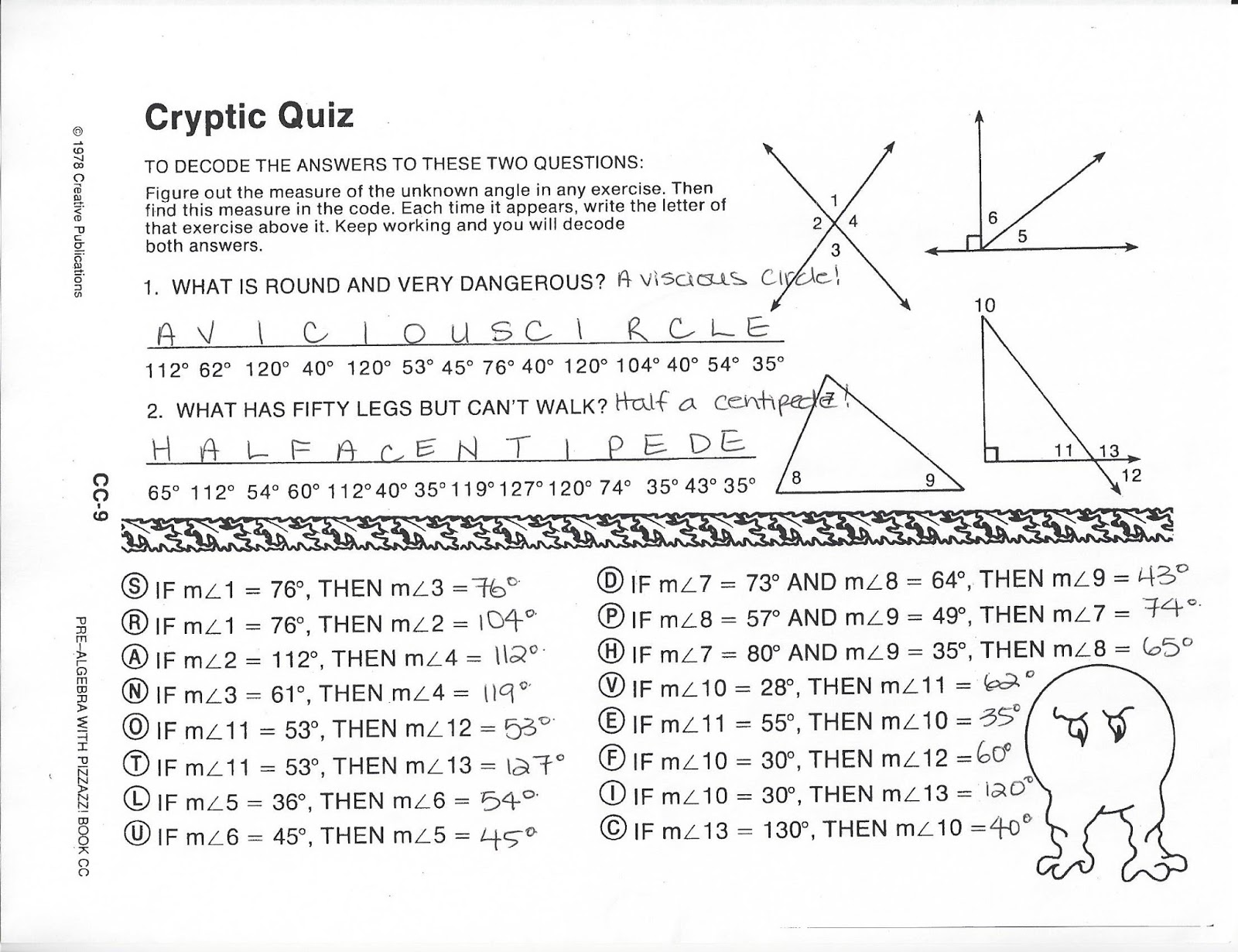 Printables Of Cryptic Quiz Worksheet What Is Round And Very Dangerous