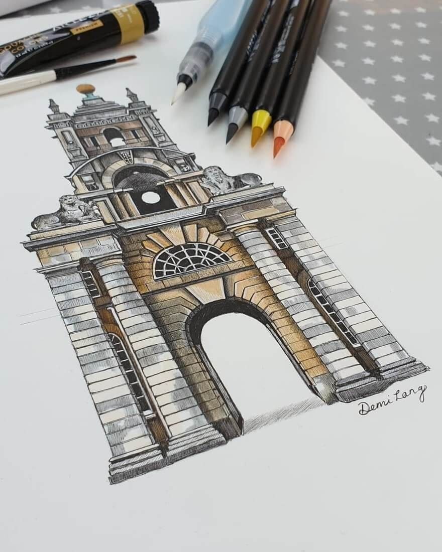 09-Oxfordshire-England-Demi-Langdoes-Drawings-of-Architectural-Details-and-Buildings-www-designstack-co