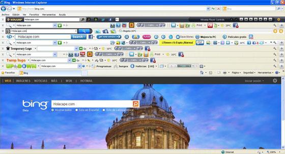 Barras de herramientas en navegador web