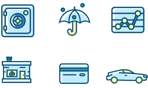 Financial icons graphically design for services page on Baker Hill's website