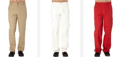 pantalones en color beige, blancos o rojos
