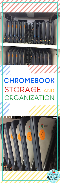 Storing and organizing Chromebook carts in the classroom.