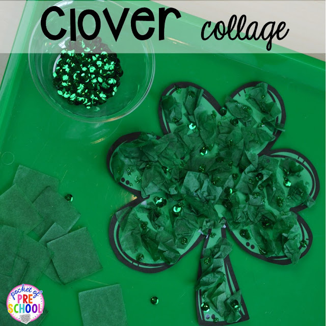St. Patrick's Day shamrock kid craft using tissue paper and glitter glue plus FREE ten frame shamrock cards for preschool, pre-k, and kindergarten. A fun way to build fine motor strength.