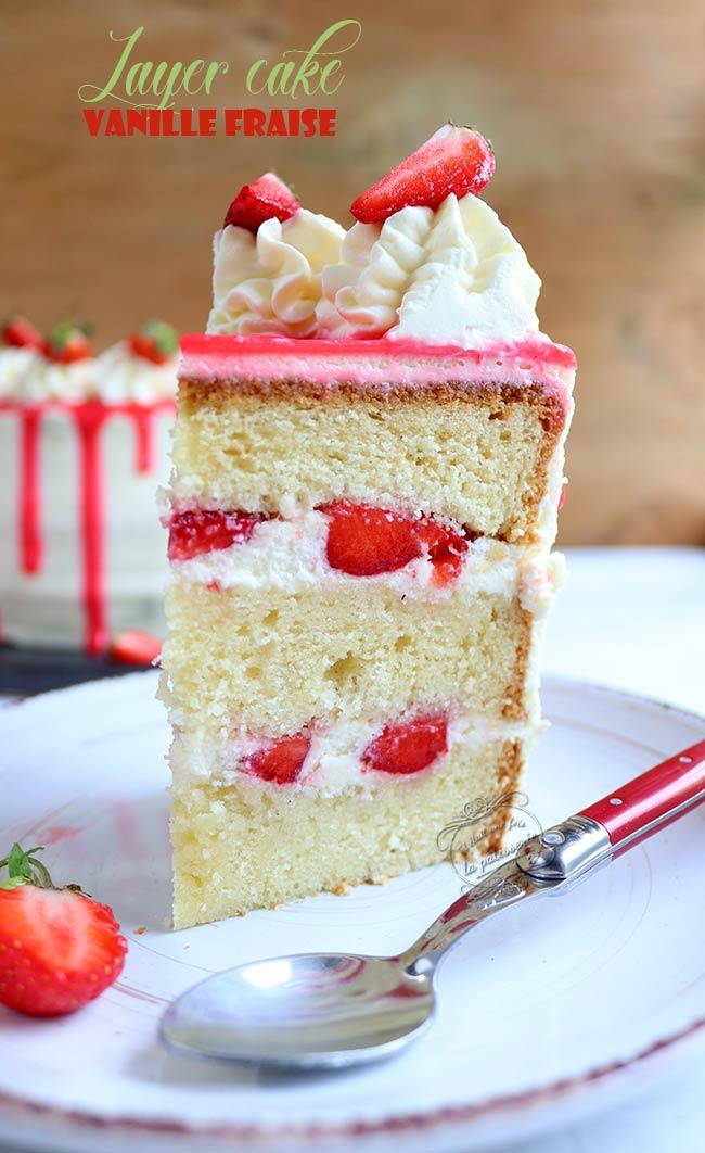 layer cake aux fraises gâteau