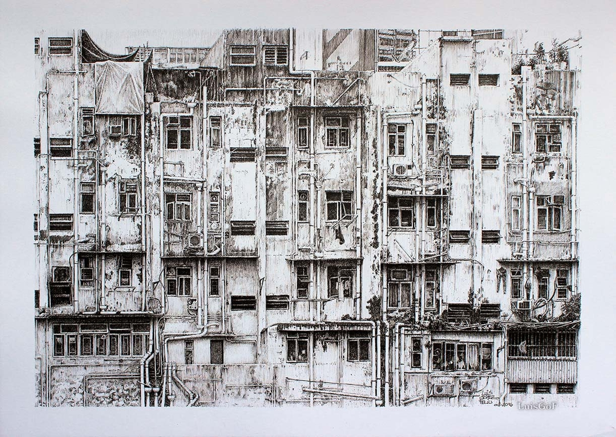 08-Old-building-in-Hong-Kong-Luis-Gómez-Feliu-Elucubros-Urban-Sketches-and-Interior-Architectural-Drawings-www-designstack-co