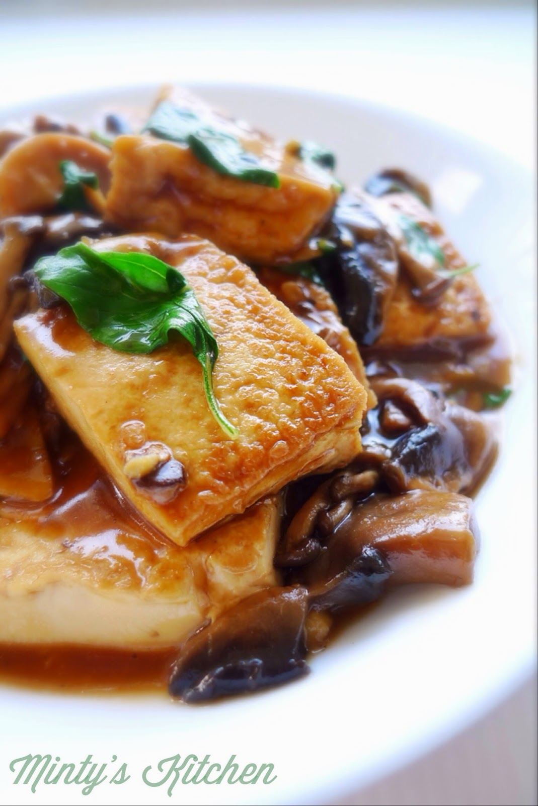 Braised Tofu and Mushroom With  Basil
