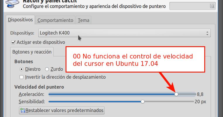 Velocidad del cursor no funciona en Ubuntu 16 04, 18 04