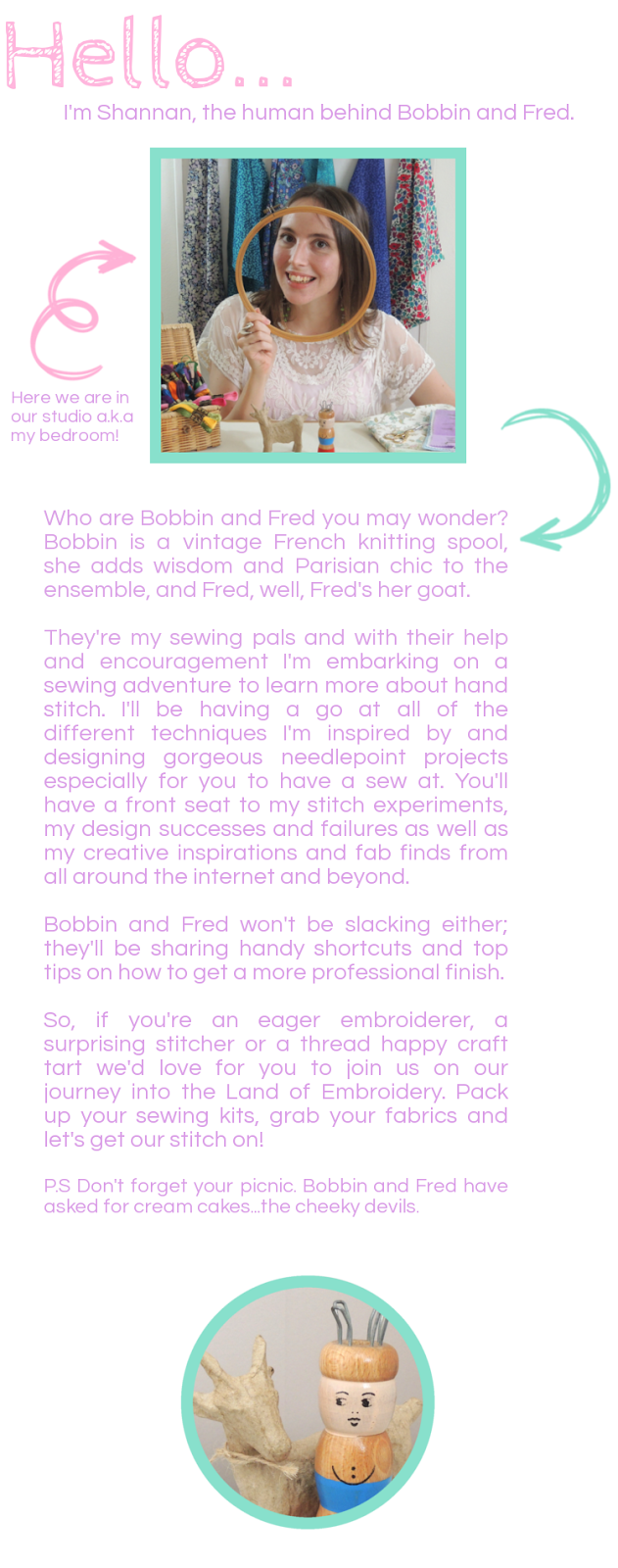About Shannan and description of sewing with bobbin and fred hand embroidery blog