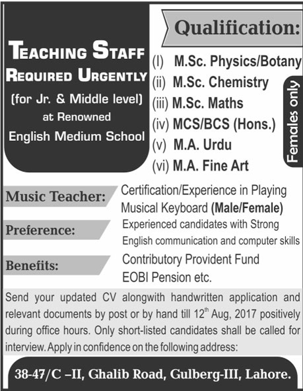 Teaching Staff Required In Renowned English Medium School Lahore August