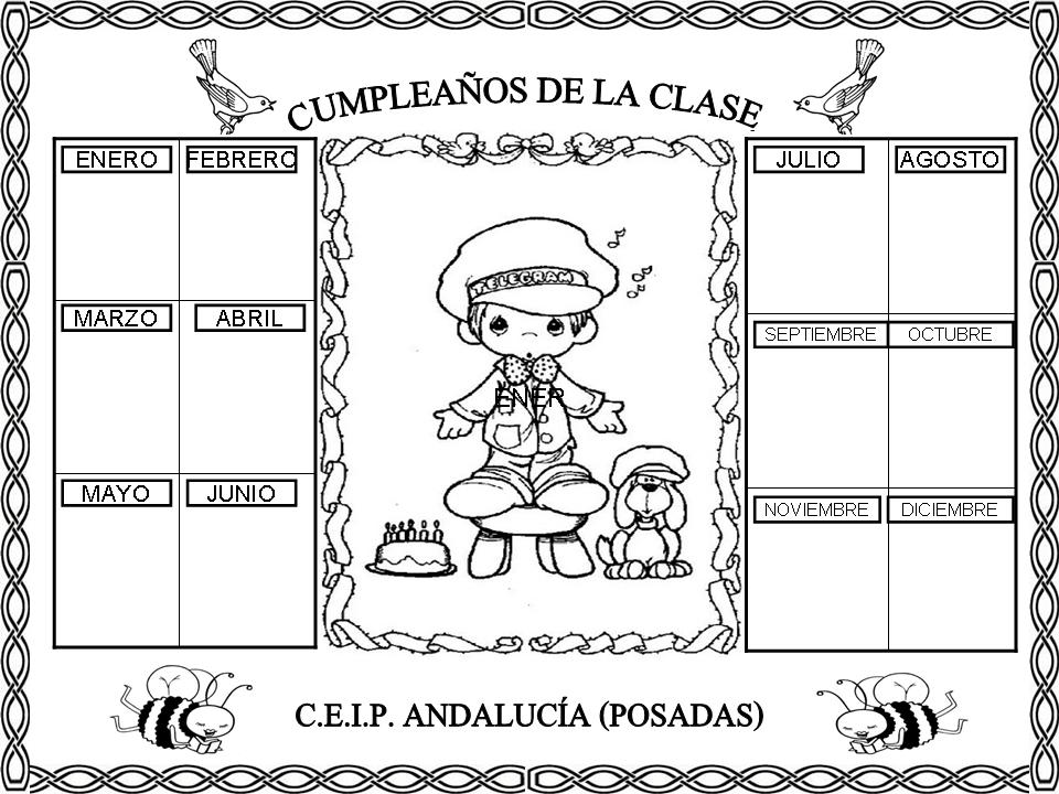 Carteles Y Tarjetas De Feliz Cumpleaños Para Colorear: Cartel De Cumpleaños Para Preescolar