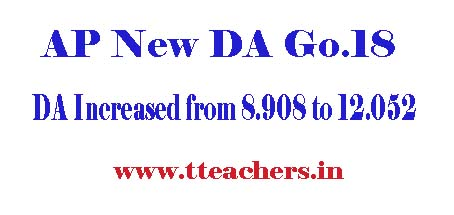 Go.No 18 AP Govt Employees New Jan 2015 DA @ 12.052%