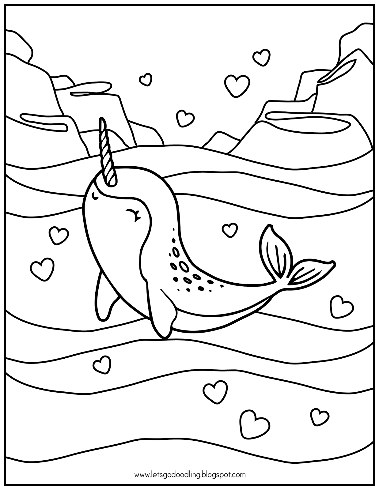 Narwhal coloring pages ~ FREE Printable Coloring Page: Narwhal