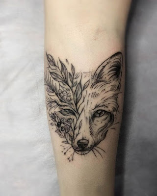 Wolf and Flower Tattoos