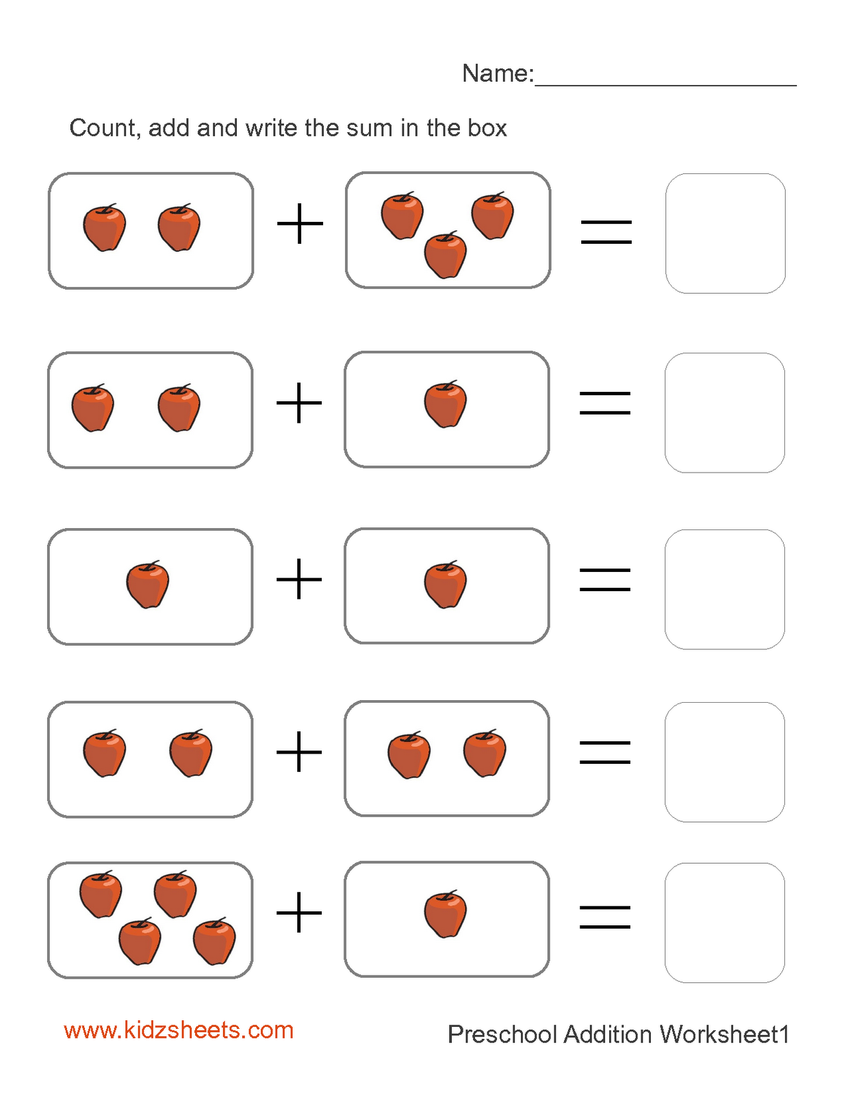 Addition Worksheets For Kindergarten | New Calendar ...