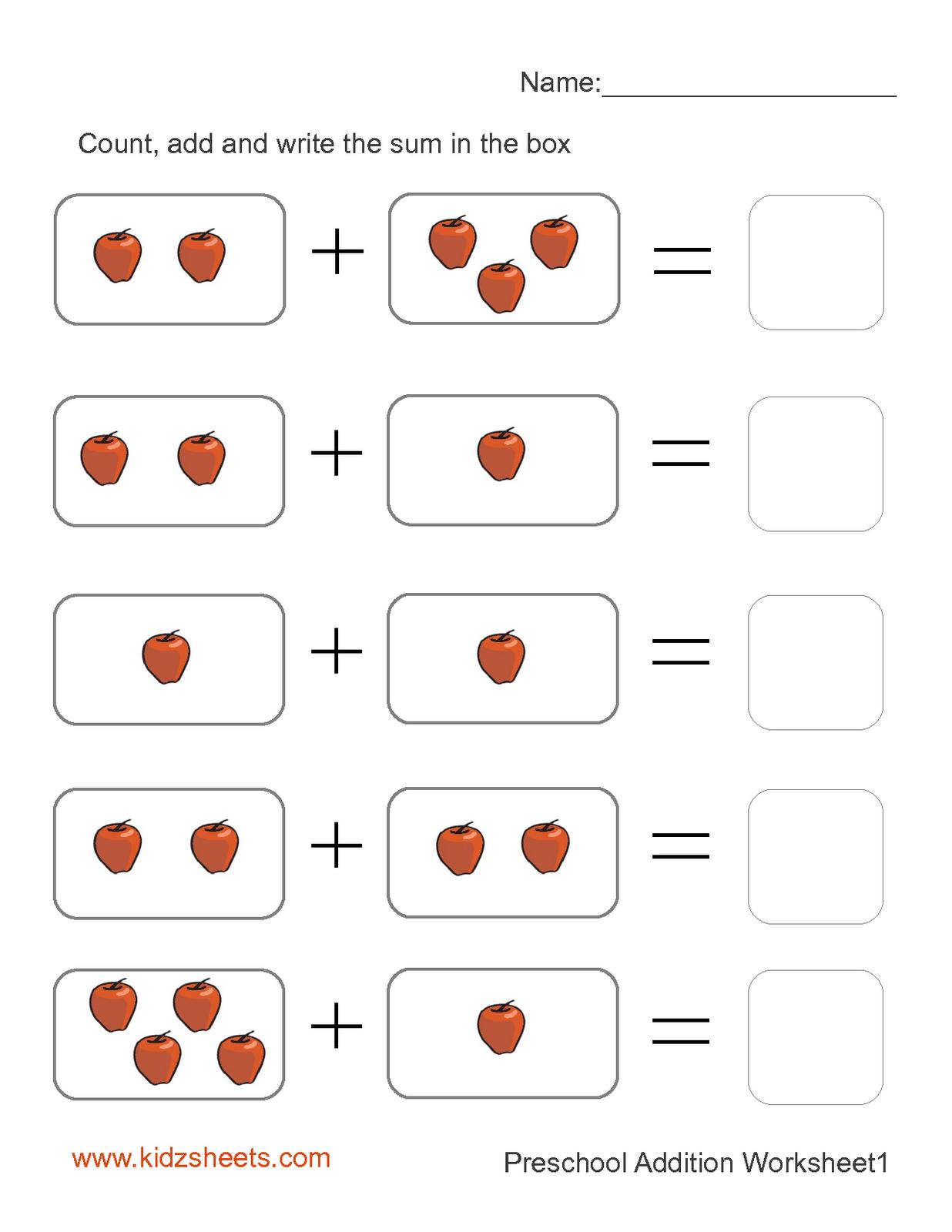 Addition Worksheets For Kindergarten   New Calendar ...