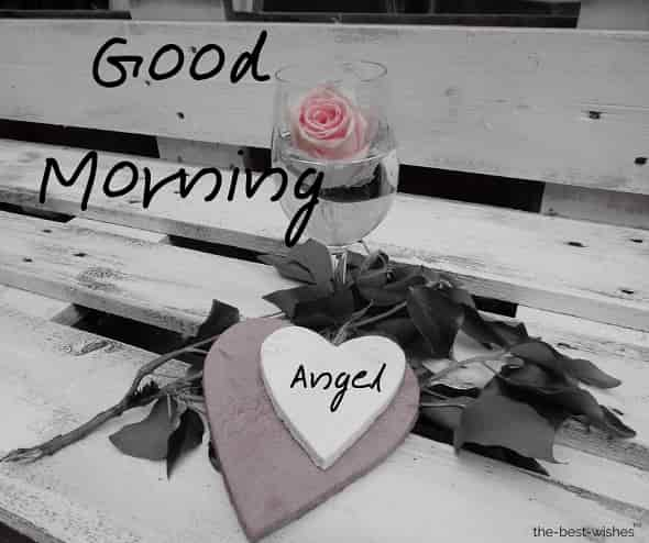 good morning angel with black and white image
