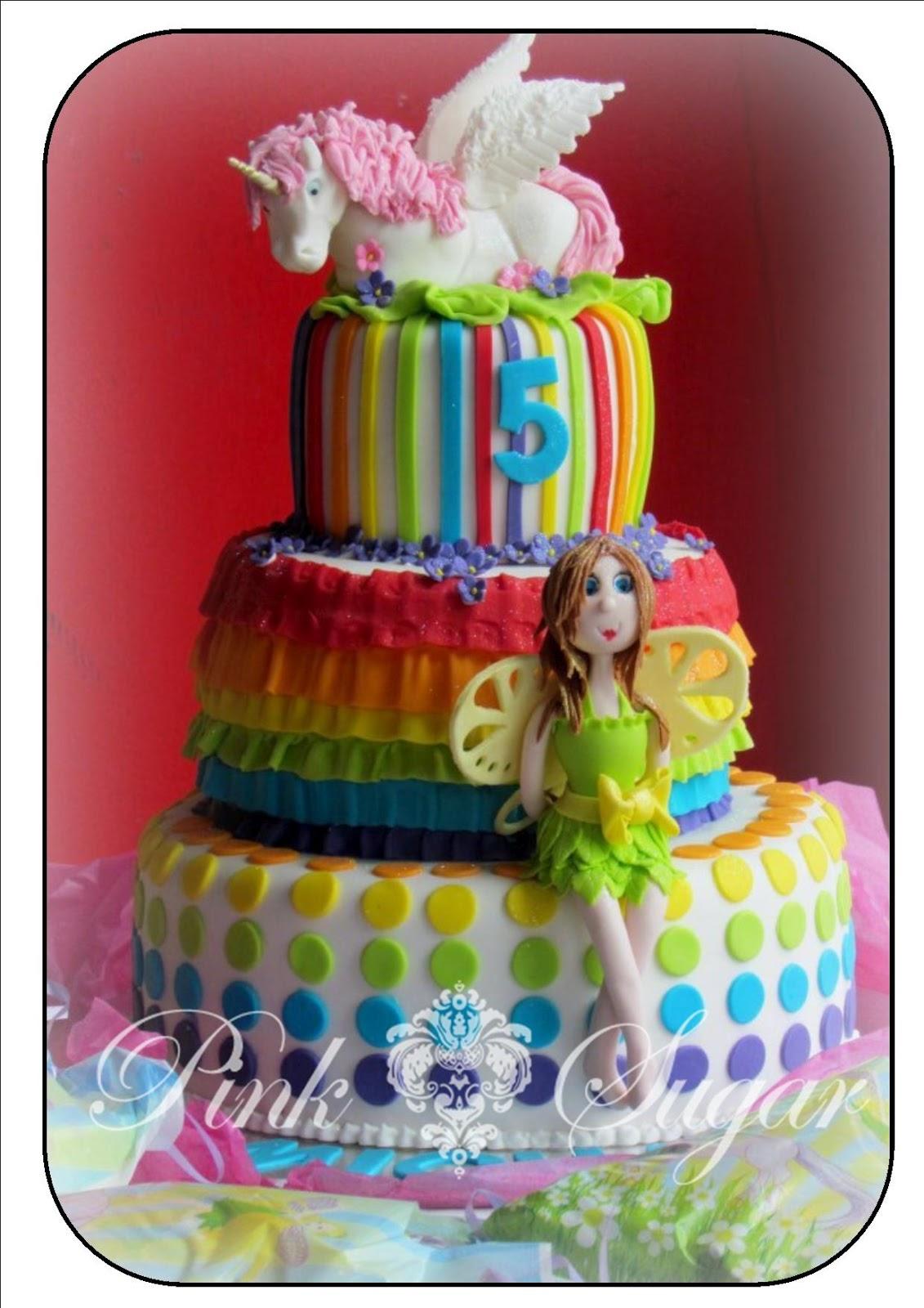 Pink Sugar Rainbow Unicorn Amp Fairy Birthday Cake