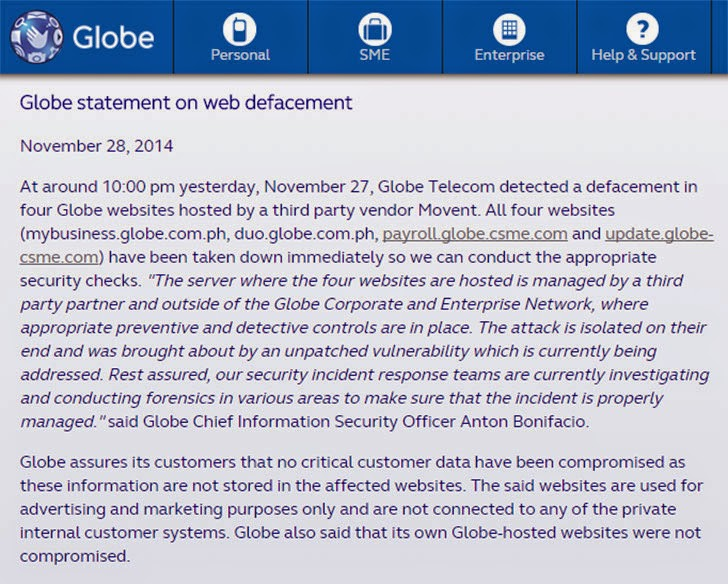 Globe statement on web defacement