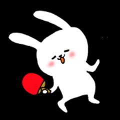 The white rabbit likes table tennis
