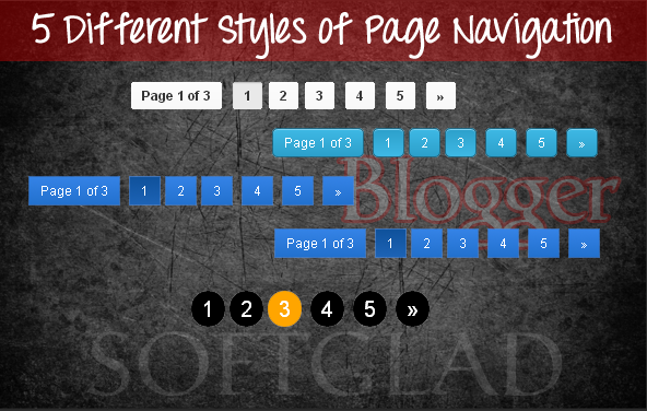 NUMBERED PAGE NAVIGATION - 5 Different Style