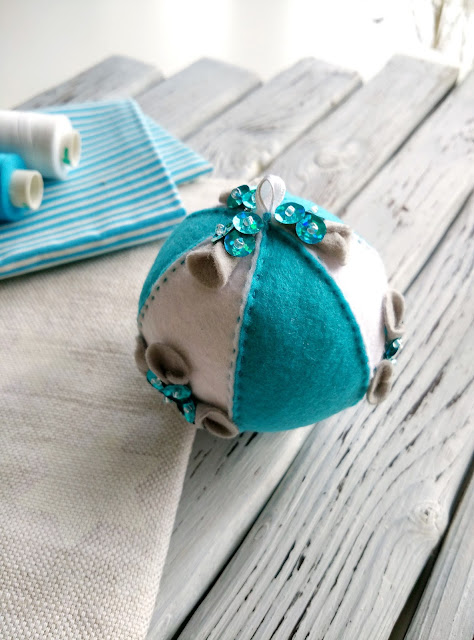 Шар, бирюзовый, елочный шар, новогодняя игрушка, фетр
