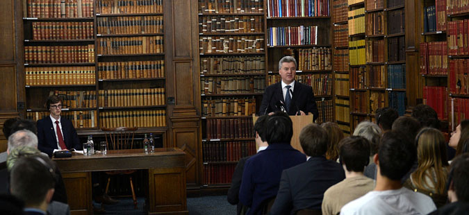 President Ivanov delivers lecture at Oxford Union