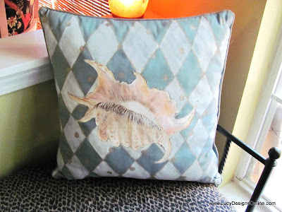hand painted shell pillow
