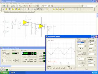 Aplicação TINA-Ti 9 a correr uma simulação.