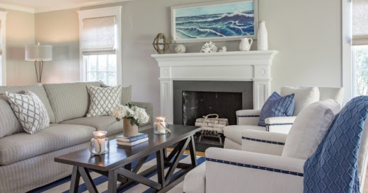 Coastal Interiors With Navy Blue Amp White Striped Area Rugs