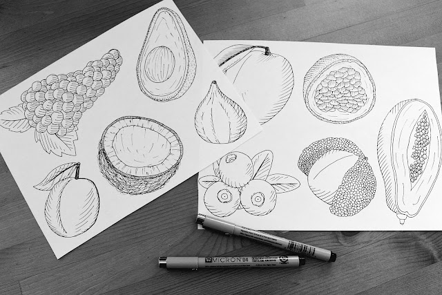 line art food illustration