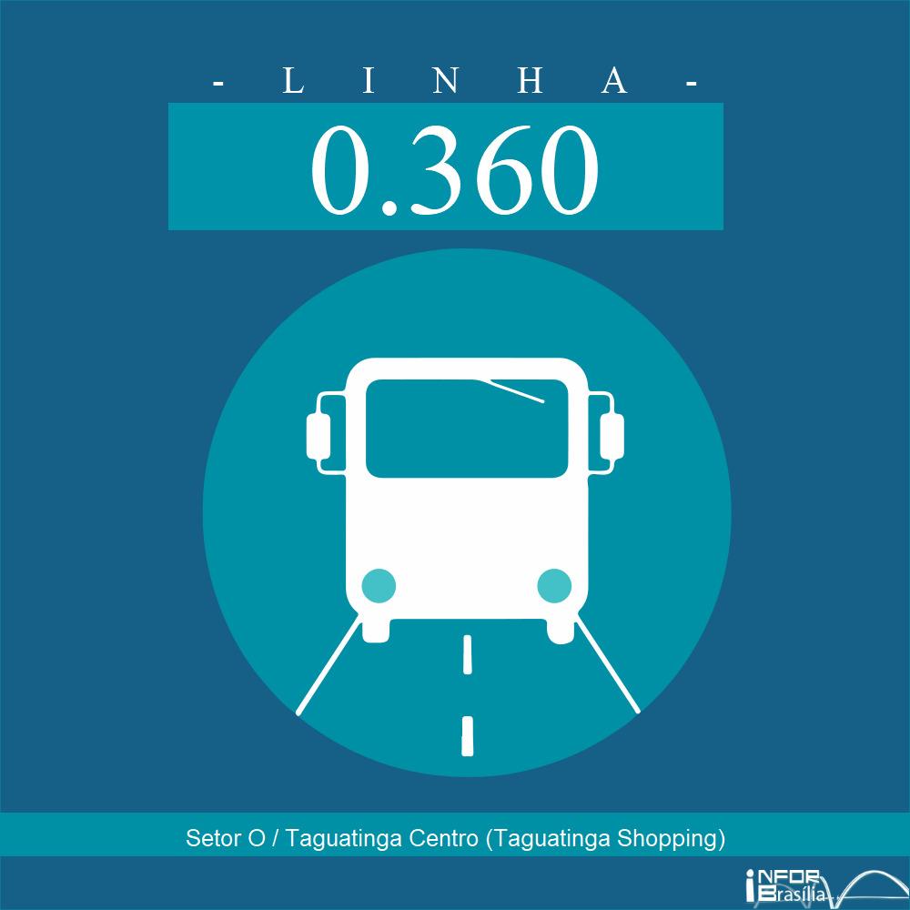 Horário de ônibus e itinerário 0.360 - Setor O / Taguatinga Centro (Taguatinga Shopping)