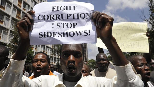 KENYANS DEMONSTRATING OVER CORRUPTION