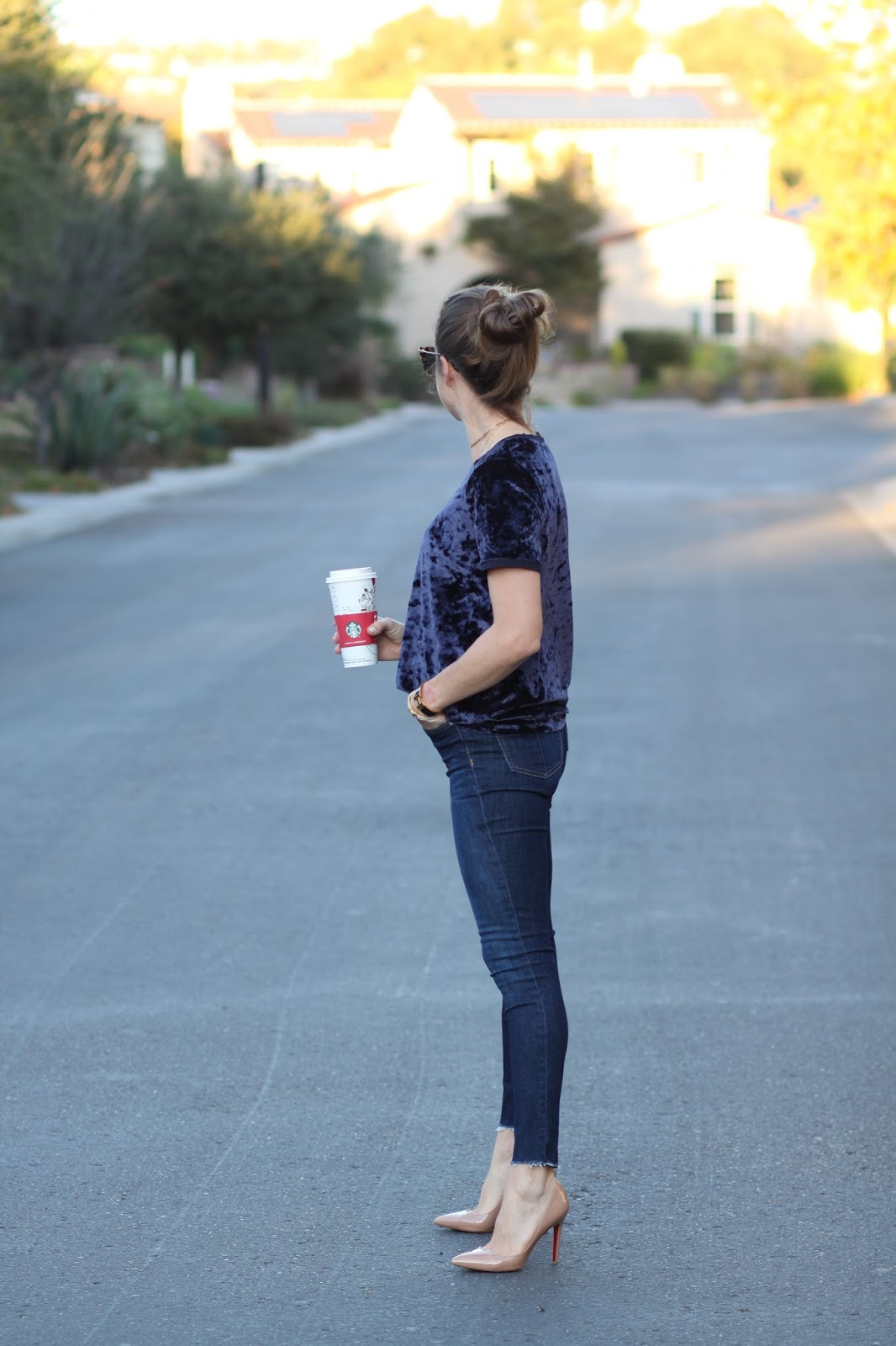 navy velvet holiday outfit