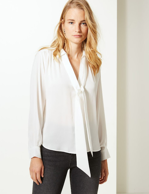 Marks and spencer satin scarf neck shirt