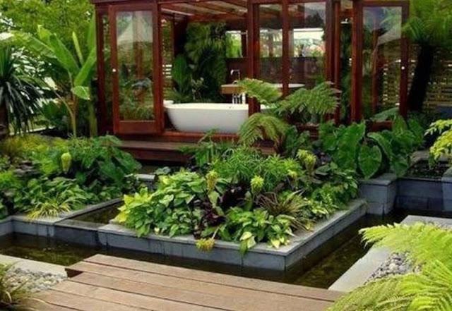 taman rumah minimalis dengan kolam ikan - desain rumah idaman