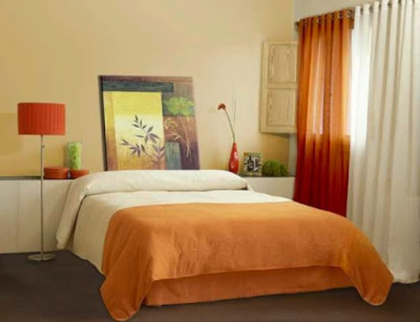 Bedroom Curtains Ideas   One Curtain In White Orange Color Combination