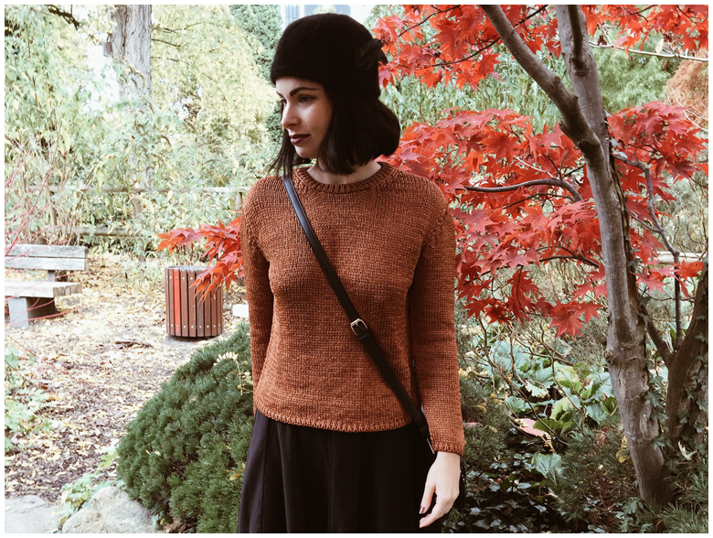 COPPER | June Gold wearing a copper Mango sweater