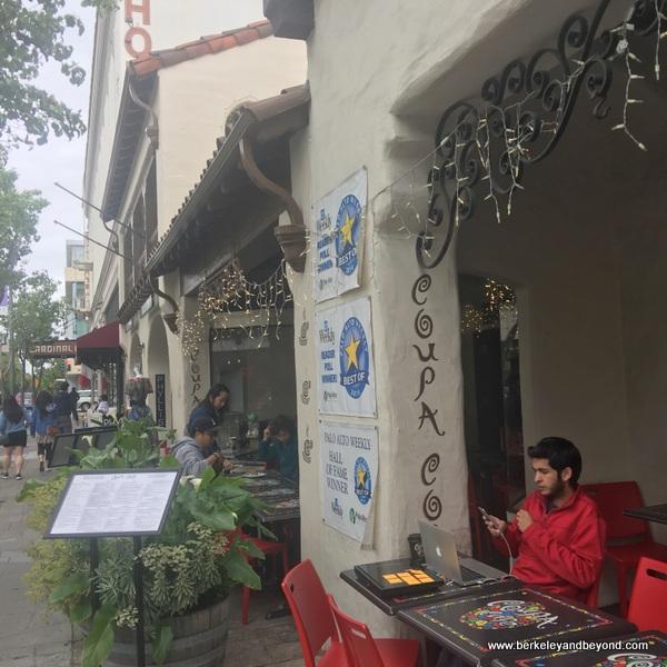 entrance to Coupa Cafe in Palo Alto, California