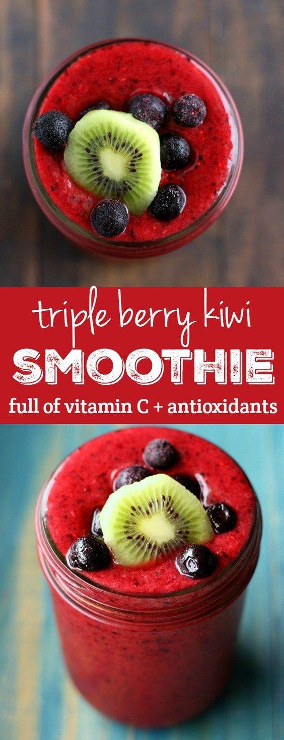 Immunity Boosting Triple Berry Kiwi Smoothie