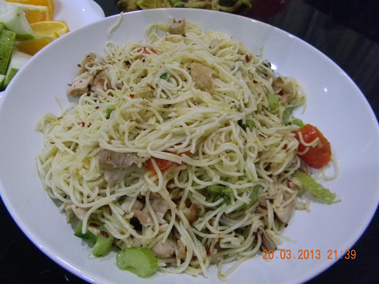 cooked aglio olio versi angel hair Resepi Pasta Angel Hair Enak dan Mudah