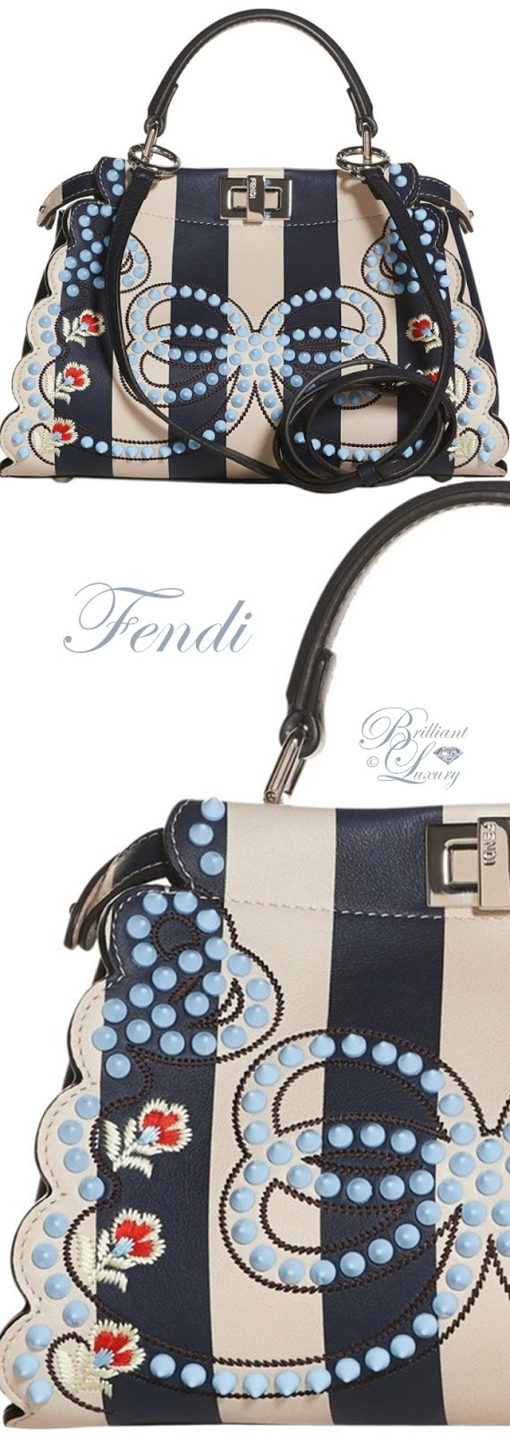Brilliant Luxury ♦ Fendi Mini Peekaboo Studded Stripe Leather Satchel in Midnight Blue-Camalia