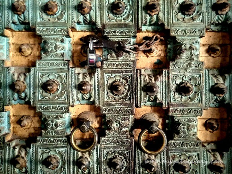 Elaborately carved doors at heritage Dhundiraj Ganesha Temple, Vadodara, Gujarat