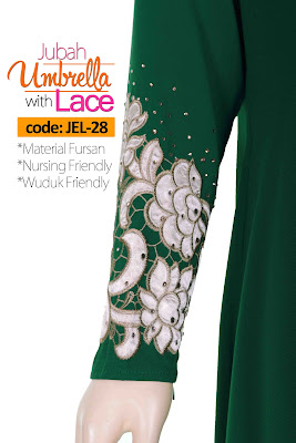 Jubah Umbrella Lace JEL-28 Green Tangan 2